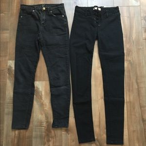 Lot 2 Skinny Jeans Forever 21 Tie Front 25 26